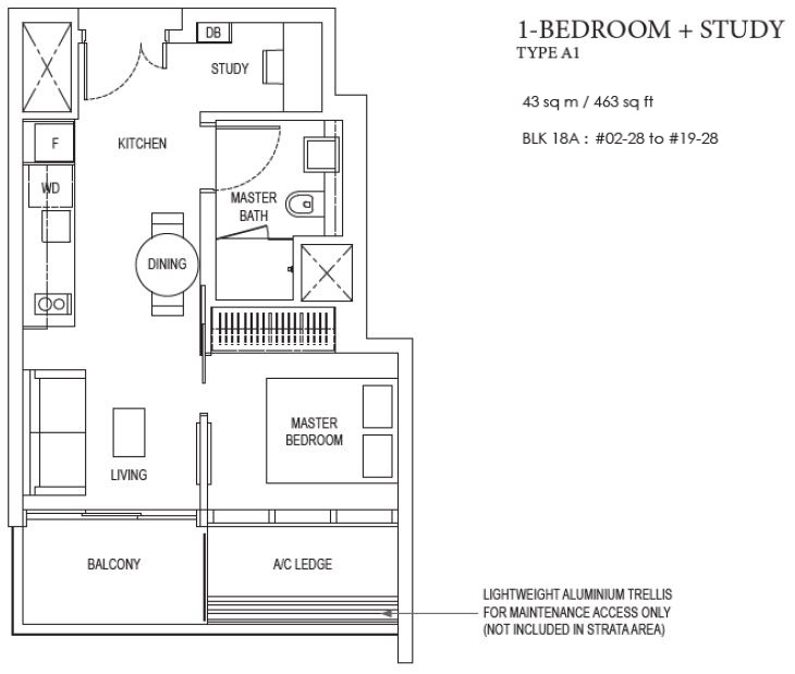 Amber Park floor plan 1 bedroom