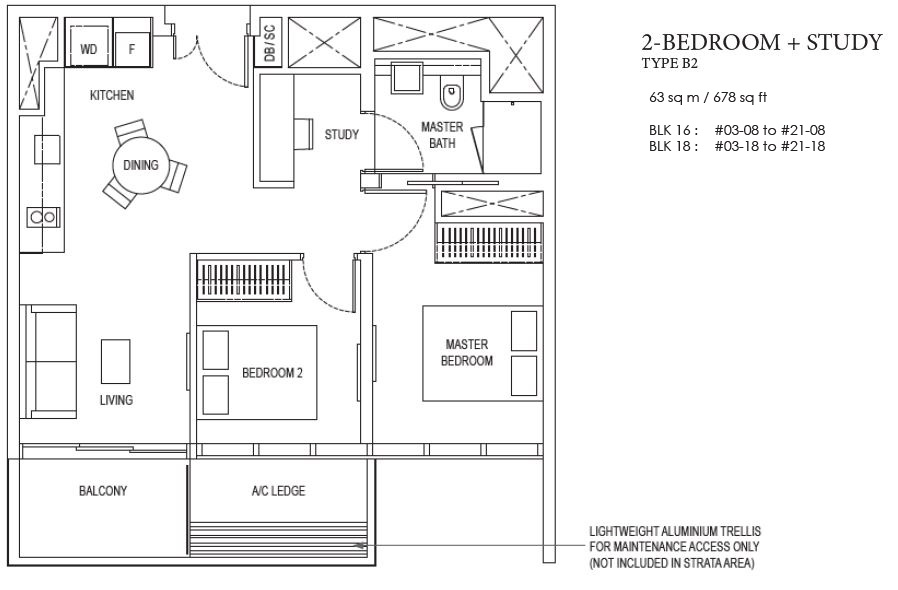 amberpark floorplan 2 bedroom